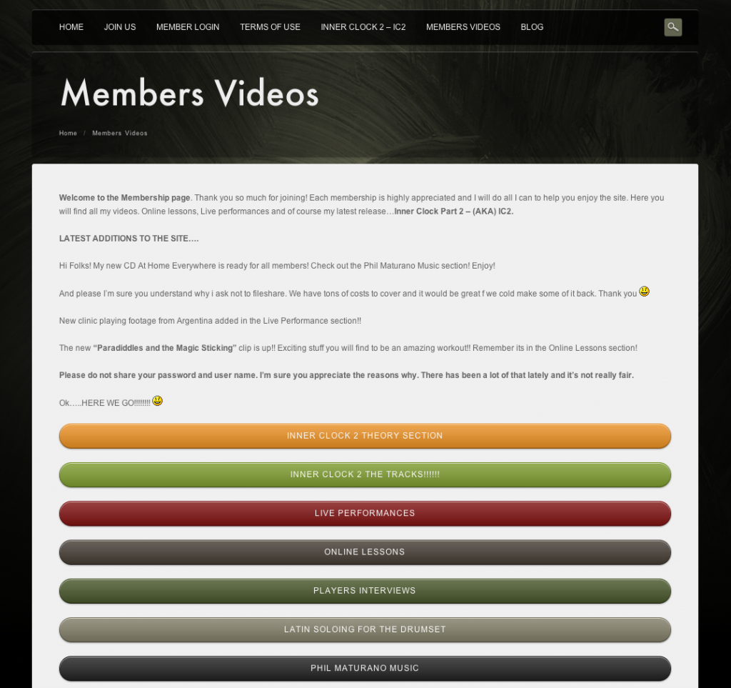 Membership page preview
